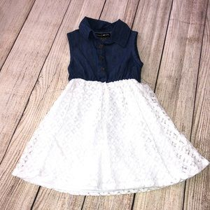 Denim and White Lace dress